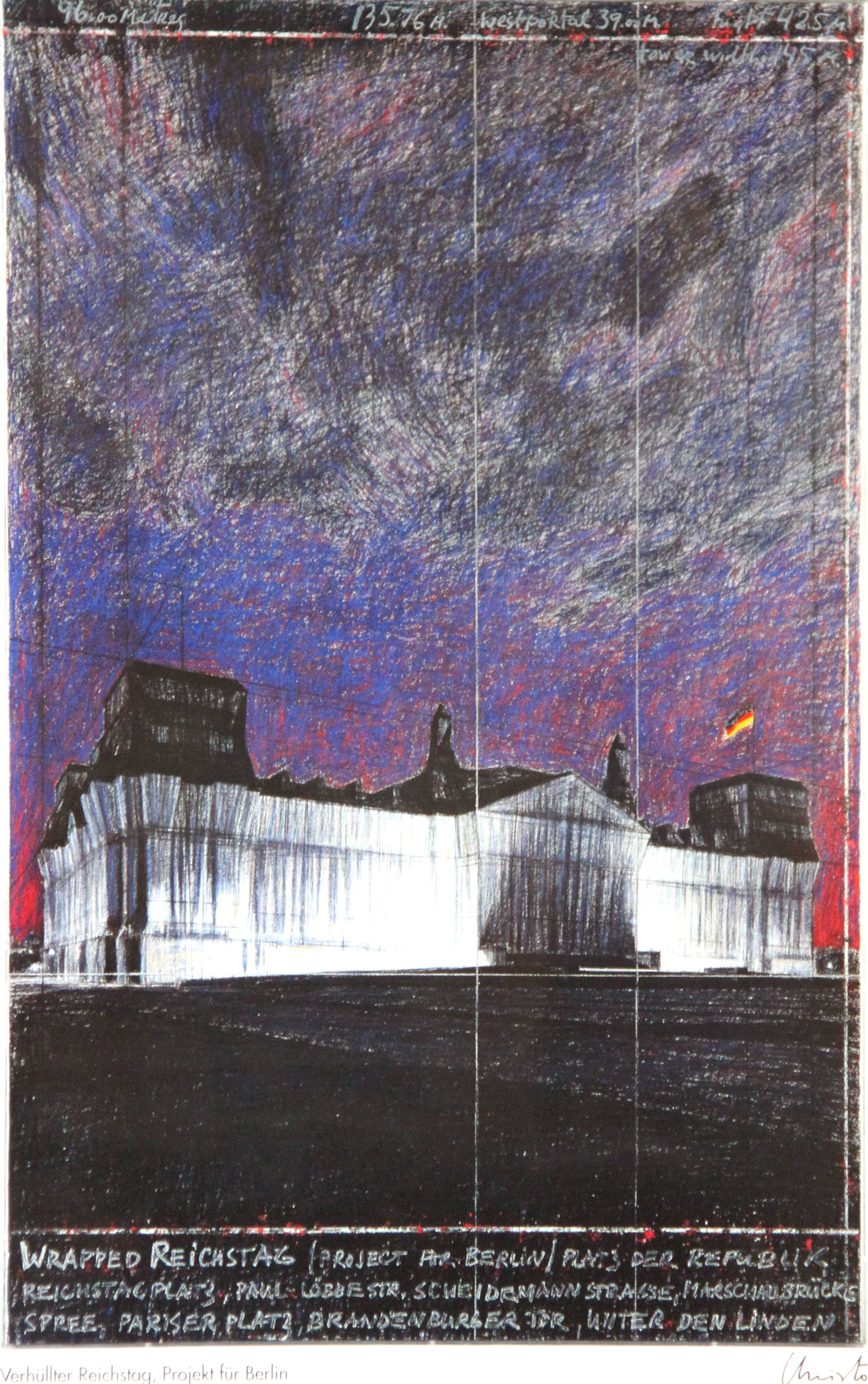 CHRISTO (Christo Javacheff) - 'Wrapped Reichstag (Project for Berlin)'